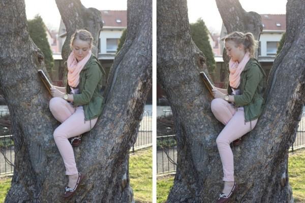 Auf einem Baum mit einem Buch – oder so